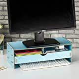 dreamaccess Holz TV Laptop PC Monitor Stand, extra Schublade, Handy Tasche, Bücherregal, Pen Box, täglich Stuff Organizer mehrfarbig blau Medium