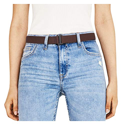 JasGood Unsichtbare Damen Stretch Gürtel No Show Elastic Einstellbare Web Gürtel Mit Flacher Schnalle Für Jeans Hosen Kleider (Damen Designer Gürtel)