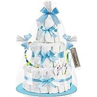 Timfanie® Windeltorte   36 Pampers® (3-stöckig / baby-blau) vario