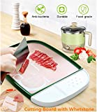 Tagliere da Cucina Professionale - Anti-scivolo Antibatterico Antimuffa, Multifunzione Plastica Tagliere con Whetstone Juice Groove Ginger Garlic Grinding Scoop Rimovibile (Verde+Raschietto Plastica)