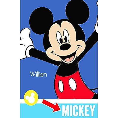 Personnalisé Disney Mickey Mouse Grand Couvre-lit/plaid en polaire super doux, Polaire/polyester, Multicoloured, One