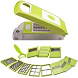 Premillia® Premium Food Grade Unbreakable Plastic 12 In 1 Chopper / Slicer / Dicer With 11 Blades And 1 Fruit - Vegetable Peeler ( 12 In 1 Set - Green )