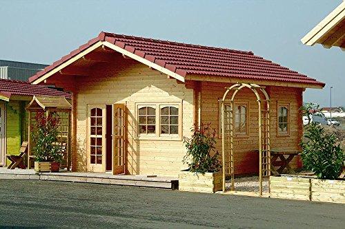 Gartenhaus ALPINA 58 + Schlafboden Blockhaus Holzhaus 445 x 590 cm - 58 mm