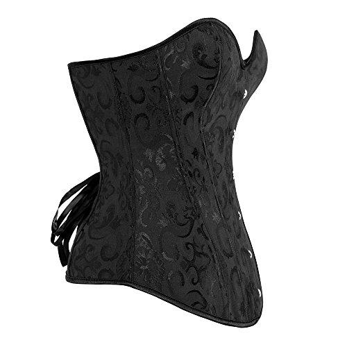 Beauty-You Damen Gothic Korsett Braut Corsage Mieder Geschnürt Plus Size Bustier Black #2