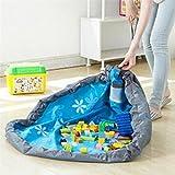 Lalang Tragbare Kinder Aufräumsack Spieldecke Spielzeug Speicher Tasche Aufbewahrung Beutel Spielzeugaufbewahrung (blau)