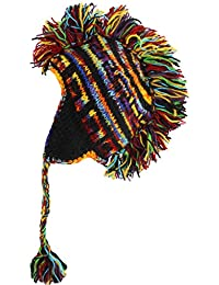MOHAWK PUNK HAT WOOL KNIT FLEECE LINED EARFLAP BEANIE BLACK & RAINBOW SPACE DYE