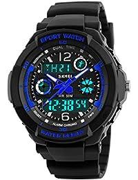 Reloj Para Niños,Reloj Digital-Analogico LED Azul,Water Resistant,Deportivo