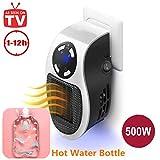Mini Fan Riscaldatore Elettrico - Riscaldatore Portatile A Presa A Muro Con Timer Digitale Regolabile Display A LED, 500W (White, 500W)