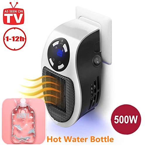 Portable Heater Mini Heizlüfter - 500W Elektrische Heizung Steckdose Heizgerät mit Timer Warmluftgebläse Heater für Zuhause, Badezimmer und Büro (Weiß,500W) (Steckdose, Elektrische Heizung)