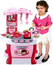 Toyshine Big Size Kitchen Set Toy With Music And Lights Playing Accessories - Pink