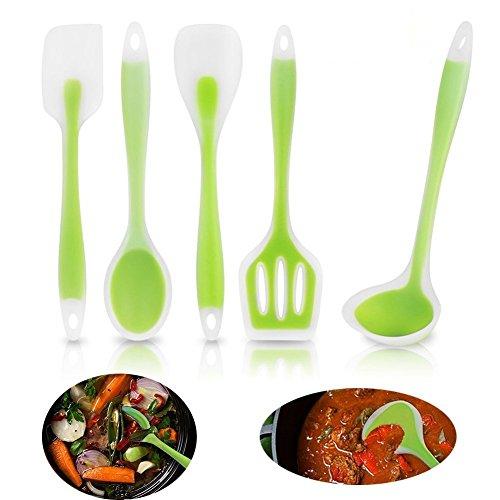 ustensiles-de-cuisine-silicone-5pcs-set-outils-cuisine-vert-transparent