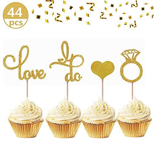 JeVenis Set mit 44 glitzernden Hochzeits-Cupcake-Topper mit Diamant-Ring, Cupcake-Topper, für Hochzeit, Verlobung, Brautparty, Dekoration (Ideen Dekoration Shower Bridal)