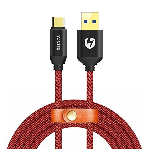 USB C Kabel auf USB 3.0 A, lebenslange Garantie, 2m Nylon Type-C kabel für USB Typ-C Geräte Inklusive Samsung Galaxy S8 Plus,Note 8, Huawei P10/P9, Sony Xperia XZ, Lumia 950/950XL,Nexus 5X/6P,HTC 10/U11 und weitere von YONTEX