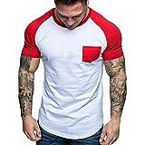 Xmiral T-Shirt Uomo T-Shirt Semplice Moda Casuale Maniche Corta T Shirt Maglietta da Uomo Camicie da Uomini Tees Manica Lunga Tops Maniche Corte Polo Maglietta Uomo XXXL Rosso