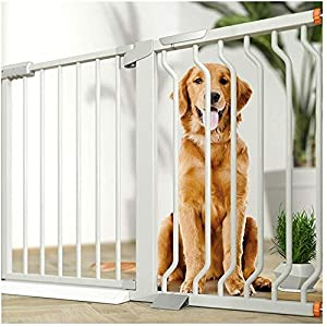MOM Pet Playpens Door,Extra Wide Child Pet Safety Gates,Garden Fence Dual Lock Self Closing Dog Isolation Door,Rail Guards Stairs Guardrail Gate,White,W 355-362cm   11