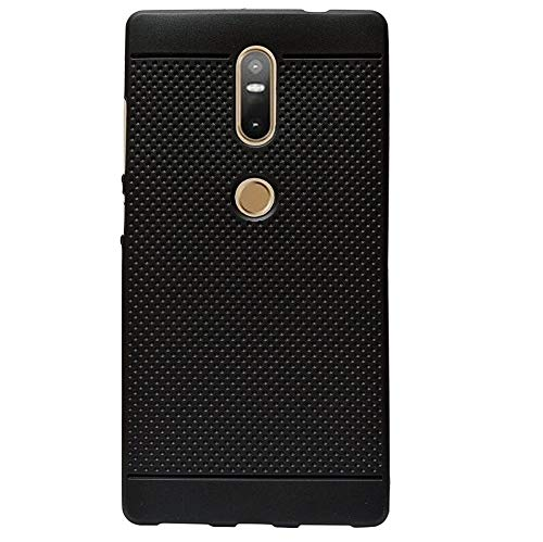 """KANICT 360* Rotating Dotted Matte Finished Soft Skin Rubbersied Back Case Cover for Lenovo Phab 2 Plus (6.4"""" inch) -Black"""