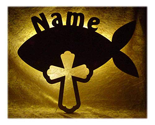 """Schlummerlicht24 Nachtlicht""""Religion"""", Geschenk zur Geburt oder Taufe mit Namen nach Wunsch, LED-Leuchte für das Kinderzimmer oder Schlafzimmer, Geschenke für Oma oder Opa, handgemacht (Fisch Kreuz)"""