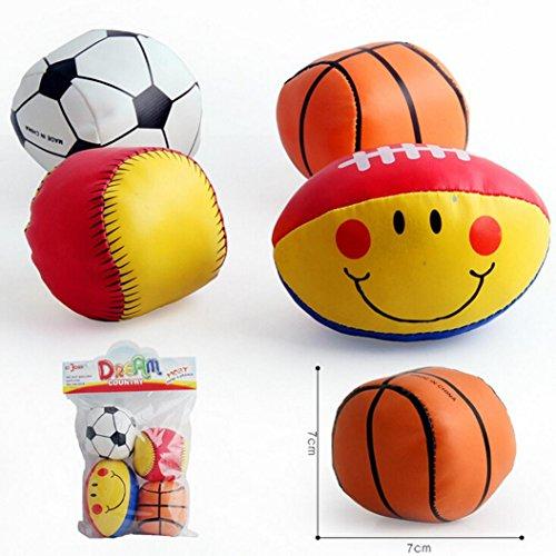 Bescita 4 STÜCK Baby Baumwolle Weiche Ball Fußball lächelnde Rugby Gedrückt Pädagogisches Spielzeug (Small)