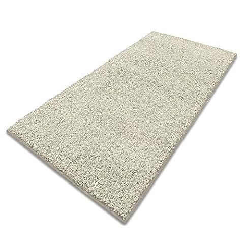 casa pura® Shaggy Carpet Floor Runner Rug, Cream 66x150cm | Non-Slip | Multiple Colours | Custom Width & Length | Matching Stair Treads Available | Pollution