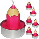 6 TLG. Set _ Kleine Kerzen / Teelichter -  bunter Stift - PINK / ROSA  - 5 cm hoch - Tischkerze - Tischdeko / Schuleinführung / Geburtstagskerzen - Stifte -..