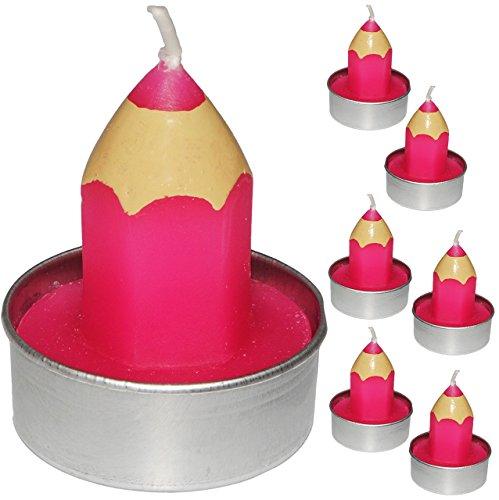 Unbekannt 6 TLG. Set _ kleine Kerzen / Teelichter -  bunter Stift - PINK / ROSA  - 5 cm hoch - Tischkerze - Tischdeko / Schuleinführung / Geburtstagskerzen - Stifte -..