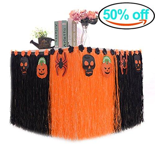 Heall Falda de Mesa de Halloween Calabaza Cráneo Araña Decoraciones de Fiesta Table Skirt Naranja Negro 1 Pieza