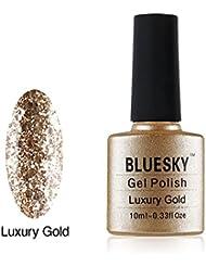 Bluesky Soak OFF UV/LED KS Range Glitter Colour Gel Nail Polish, 10 ml, Luxury Gold
