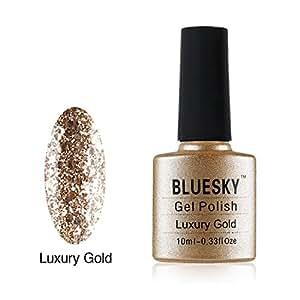 BlueSky UV/LED soak off KS gamma glitter colore smalto in gel, 10ml, oro lusso