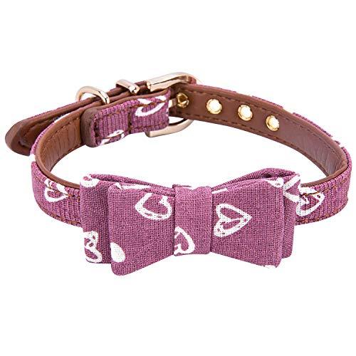 StrawberryEC Hundehalsband für Kleine Hunde, verstellbar, mit ID-Schnalle, Leder Hundehalsband, kariert, Rot, Small, Bow-Burgundy-Love -