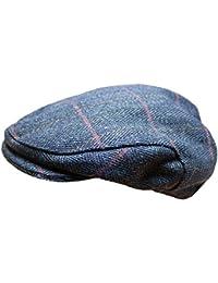 WWK / WorkWear King Mens Derby Tweed Flat Cap Hat Blue