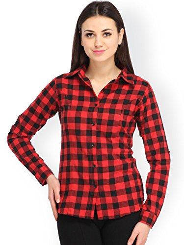 Trendy frog Women Long Sleeve Cotton Checker Shirt, Small Size