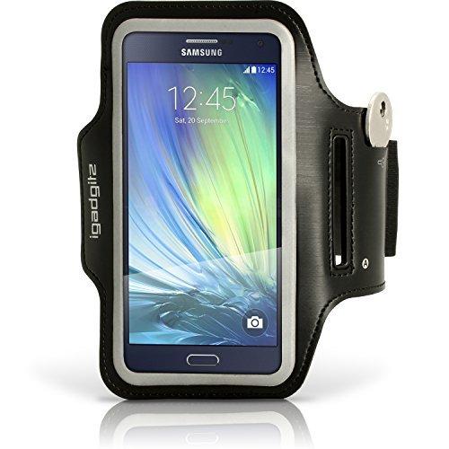 igadgitz Reflektierenden Schwarz Sports Jogging Armband Laufen Fitness Oberarmtasche für Samsung Galaxy A3 SM-A300 Mit Schlüsselfach
