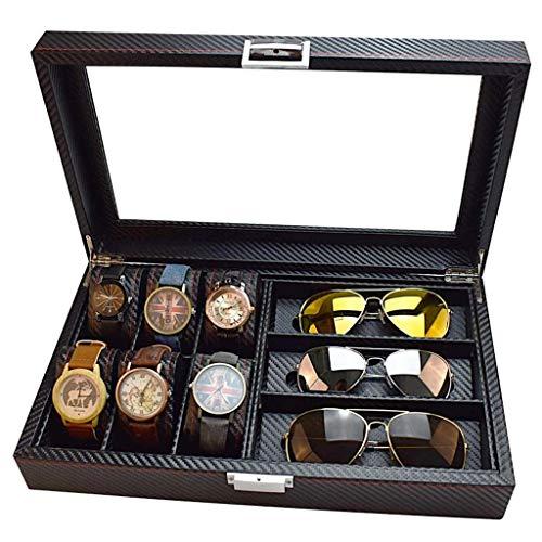 Carbon Fiber 6-Bit-Uhr + 3-Bit-Brille Aufbewahrungsbox/Sonnenbrille Aufbewahrungsbox Display, Weihnachtsgeschenk, tragbar und langlebig