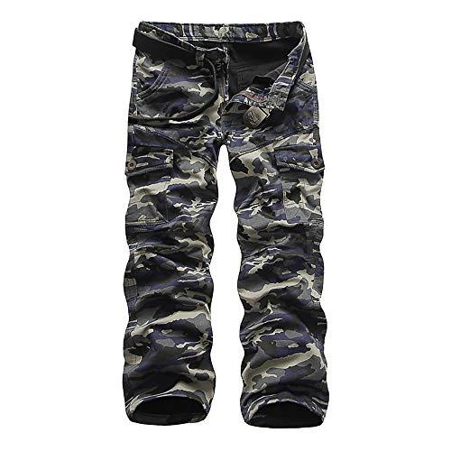 crazy player Herren Winter Thermohose Camouflage Cargohose Warm Fleece gefüttert Arbeitshose aus 100% Baumwolle Loose Fit mit Reißvertschluss 6 Taschen in Schwarz Army-Grün, Khaki -