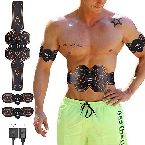 Jaspik EMS Muskelstimulation Elektrische Muskelstimulation Muskelstimulator Bauchmuskeltrainer USB Aufladen Fettverbrennung Massage-gerät Home Fitness Machine Schnell und effektiv Muskeln aufbauen -