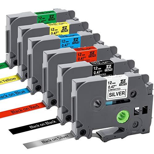 6x Nastro per Etichette MarkField Compatibile In sostituzione di Brother P-touch TZe TZ Tapes 12mm 0.47 Cassetta per Brother P touch PT-1000 PT-1010 1090 1830VP 2030VP 2100VP