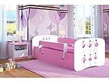 CARELLIA Kinderbett Ballerina, 70 cm x 140 cm, mit Sicherheitsgitter + Polsterbett + Schublade + Matratze - Farbe: Rosa