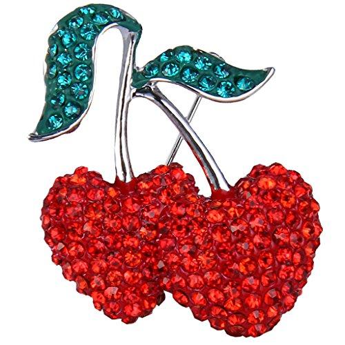 EVER FAITH? silver-tone partito di cristallo austriaco Doppia bella ciliegia doppio Foglia Spilla Pin rosso (Tone Cuore Spilla)