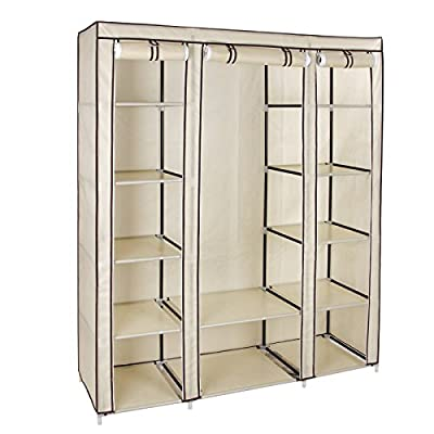 Songmics Canvas Wardrobe Storage 150 x 45 x 180 cm LSF03M - inexpensive UK wordrobe shop.
