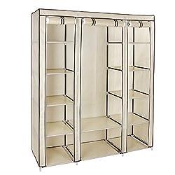 SONGMICS Kleiderschrank, XXL Faltschrank, Stoffschrank mit Kleiderstange und 3 hochrollbaren Türen, Campingschrank, 175 x 150 x 45 cm, beige LSF03M