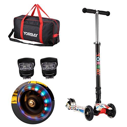 Yorbay Klappbar Kinder Scooter Roller mit LED Rollen Belastbar bis 60KG mit 2X LED Silikonleuchte und Tragetasche (Graffiti Weiß)