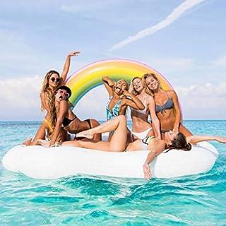 Queta Riesen Luftmatratze, Regenbogen Wolke Badeinsel 210 * 140 * 135cm Aufblasbare Schwimmende Reihe Großes Wasser Spielt PVC Starke Montierung