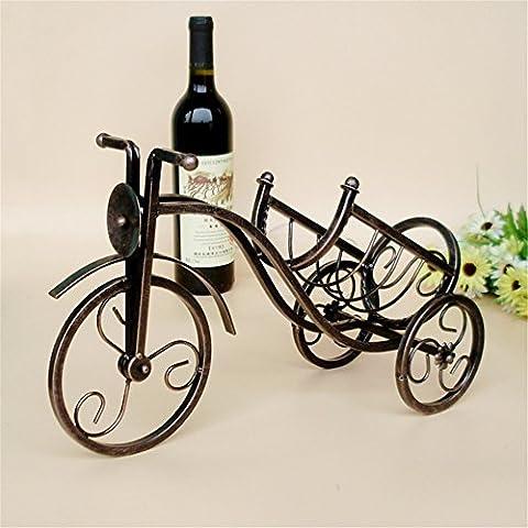 VIGVOG Vintage Bronze-colored Tricycle Wine Bottle Rack
