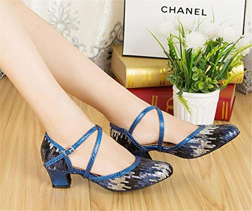 Scarpe da donna Cinturino incrociato con paillettes Sala da ballolatino Taogo Dimensioni della pompa da ballo 36To40 blue 5cm heel