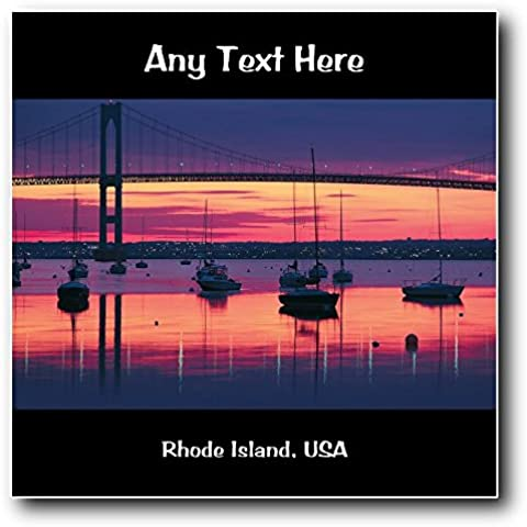 America Rhode Island de los Estados Unidos, acrílico diseño con texto en inglés de pared diseño cuadrado con bordes suaves de los Estados Unidos