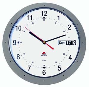 Alba HORDAY FR Quartz Horloge Murale avec Dateur Gris Métal 30 x 5,5 x 30 cm