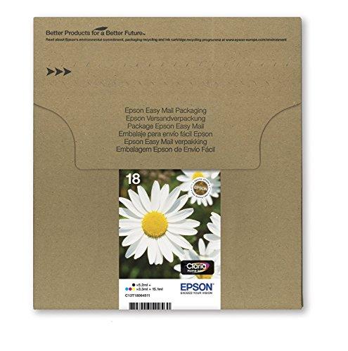 EPSON C13T18064511 Encre d'origine Multipack Pâquerette T1806 : cartouches Noir, Cyan, Magenta et Jaune [Emballage « Déballer sans s'énerver par Amazon »]