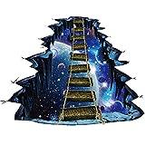BaojunHT - Adhesivo decorativo para pared, diseño de escalera en 3D, pvc, azul, 90X60CM