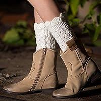 Arbre Calcetines de niñas Las Polainas de Encaje de imitación fijan los Calcetines Huecos Cortos de la Moda cálida de Las Mujeres (Color: Blanco)