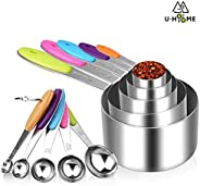 10 Piece Measuring Cups and Spoons Set in 18/8 Stainless Steel Stainless Steel Measuring Cup Spoon for Baking
